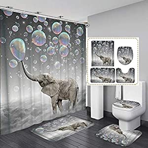 Fashion&Man 4PCS Cute Elephant Shower Curtain Sets with Rugs Waterproof Polyester Fabric Bathroom Curtains + Bath Rugs Toilet Mat Toilet Lid Rug wtih 12 Hooks, 72x72in, Elephant Blowing Bubbles