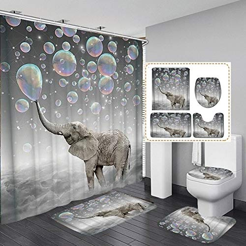 Shower Curtains No Liner Elephant 2-C0551 Mantto Shower Curtains Elegant Style Life Bath Fantastic Decorations Waterproof Polyester Fabric Bathroom Shower Curtain with Hooks 72 x 72