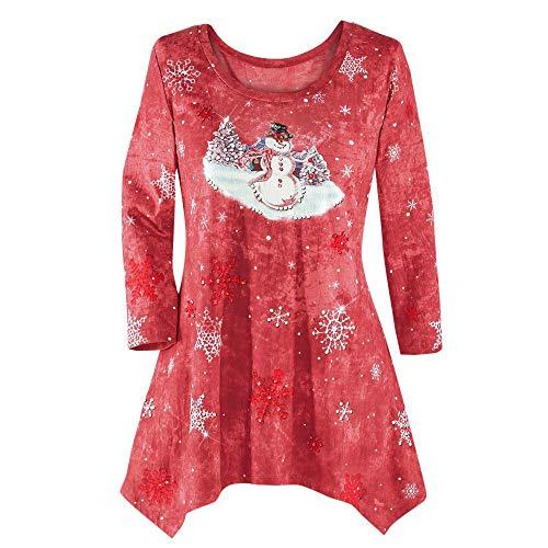 VEMOW Heißer Elegante Damen Plus Size Oberteile Winter Festliche Wasserfall Weihnachten Unregelmäßige Lässige Tägliche Party Lose Hem Bluse Top(X2-Rot, 50 DE / 3XL CN)