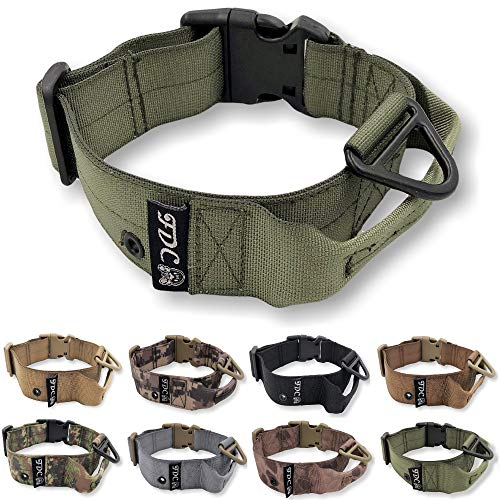 """FDC Heavy Duty Dog Tactical Collar with Handle 1.5in Width Training Military Army TAG Hole Medium Large M, L, XL, XXL (M: Neck 12"""" - 14"""", Military Green)"""