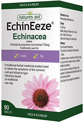 Natures Aid EchinEeze Echinacea, 530mg, Relief Symptoms of Common colds, Vegan, 90 Tablets