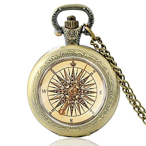 XTQDM Pocket watch,Antique Compass Design Glass Cabochon Quartz Pocket Watch Vintage Men Women Pendant Necklace Chain Clock Jewelry Gifts Bronze