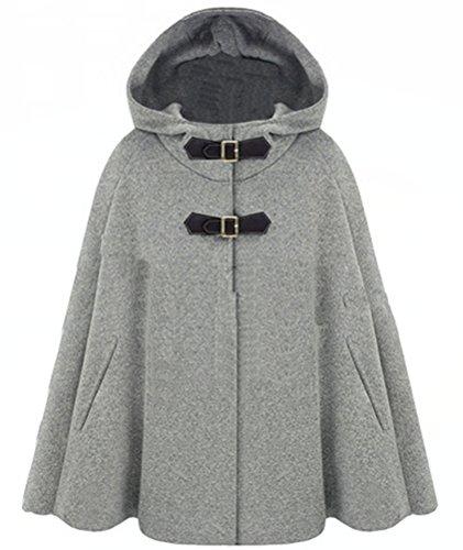 5 ALL Damen Frauen Winter Mode Warme Lose Poncho Cape Mit Kapuze Ärmellos Gurtschloß Kragen Fledermaus Shal Umhang Überwurf Kunst Baumwoll Jacke Mantel