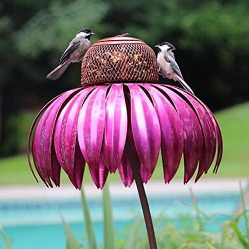 """Sensation Rosa Kegelblume Stehendes Vogelhaus Futterhaus Vögel Vogelhäuschen, Innenhof Bird Feeder, 14 \""""x 28\"""" Vogelfütterungsstation, Dekorative Gartenpfahl Kunst Metall Birdfeeder Mit Ständer (Rose)"""