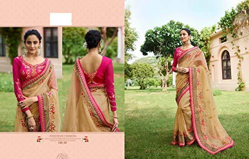 ETHNIC EMPORIUM mujer Chicku colección festiva seda pesada boda Navratri Diwali sari elegante patrón blusa india mujeres vestido 7224 43481 como se muestra