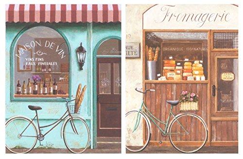 Cuadro de Madera Bicicleta Vintage. Placas de Madera Set de 2 Cuadros de 19 cm x 25 cm x 4 mm unid. Adhesivo FÁCIL COLGADO. Adorno Decorativo. Decoracion Pared hogar