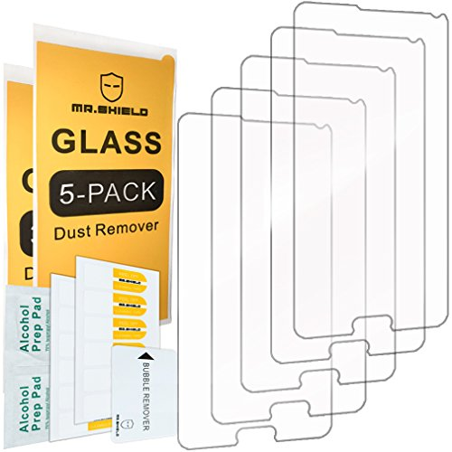 [5-PACK] - Mr.Shield Designed For Samsung Galaxy Note 4 [Tempered Glass] Screen Protector [0.3mm Ultra Thin 9H Hardness 2.5D Round Edge] with Lifetime Replacement