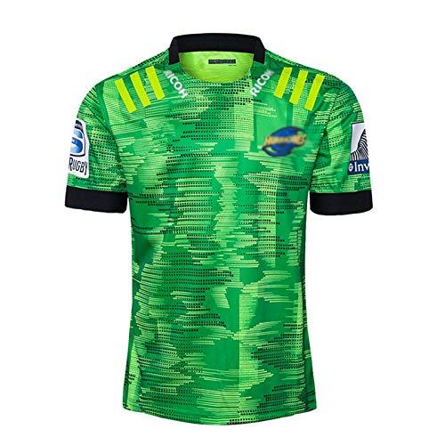 2020 Hurricáné Jersey de entrenamiento de rugby, Camisa de rugby de manga corta para adultos, Camisa unisex retro vintage para hombre, deportes de verano camiseta casual transpirable M