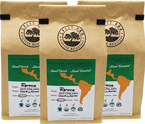3 Organic Nona Espresso Whole Beans. Africa, Indonesia and South America best Beans. Perfectly balanced mind blowing Strawberry, Dark Chocolate, Caramel, Creamy and Walnut taste. Try Split Oak Coffee