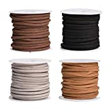 SUPVOX 4PCS 5M Hilo de abalorios de cordón de cuero plano Cuerda de cordón de gamuza sintética para el collar de la pulsera Joyas de abalorios de DIY Hacer artesanía (café oscuro, negro, claro y gris)