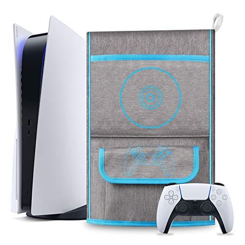 Vakdon Waterproof Dust Cover Sleeve Schutzhülle für Playstation 5 - Digital Edition / PS5 Console Protective Case, PS5 Controller Reisetasche Kompatibel mit 12 Game Disc Pockets Zubehör (Blau)