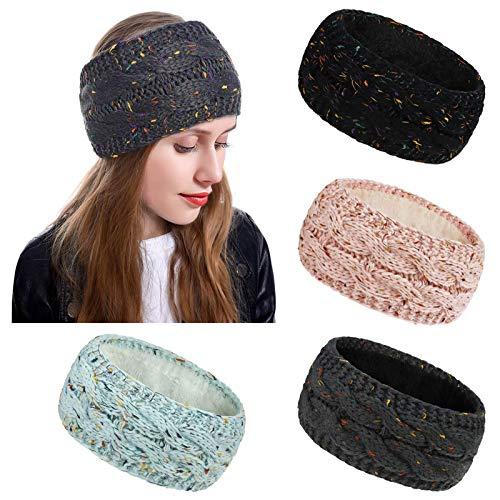 4 Stück Stirnband Damen Winter Gestrickte Haarband Mädchen Kopfband Strickstirnband Elastische Breite Stirnbänder Häkelarbeit Stirn und Ohr Wärmer für Reisen (Farbmischung)