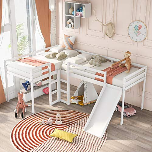 Merax Solid Wood Twin Size L-Shaped Loft Bed with Ladders and Slide for 2 Kids, White