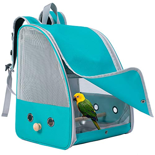 C&L Bird Carrier Backpack with Stand Perch, Bird Travel Backpack for Hiking, Airline Approved, Bird Treats and Toys (Green, Bird Carrier Backpack)