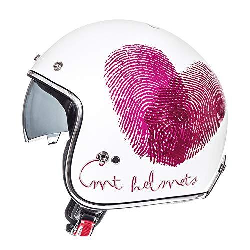 MMRLY Damen Fahrradhelm, Motorrad Elektroauto Harley Helm Dot Zertifizierung Frauen Open Face Crash Helm mit integrierter Schutzbrille (weiß),XXL