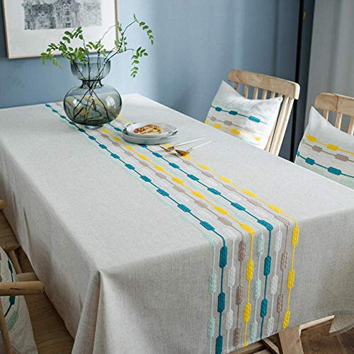 HUHUO Mantel Wipable para Comedor, Fundas de Mesa Ligeras de Lino de algodón, manteles de Fiesta a Prueba de Aceite, Gris 120 × 180 cm