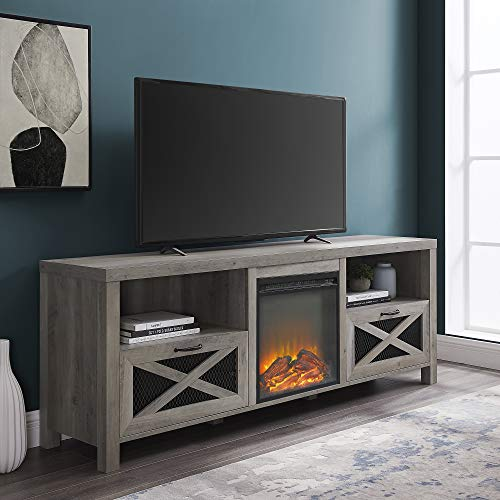 Walker Edison Calgary Industrial Farmhouse X-Drawer Metal Mesh and Wood Fireplace TV Stand for TVs...