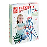 Hape Bamboo Eiffel Tower Building Kit, Safe and Fun Bamboo and Connectors Set - Colorful Construction Builders for Motor Skills Development,STEM Toys, 62 Pieces, Multicolor (E5563)