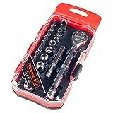 Stalwart 75-HT4023B Ratchet, Metric Socket and Bit Set (23 Piece), Chrome Vanadium Steel