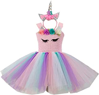 Kids Girls Tutu Unicorn Party Fancy Dress for Cosplay Festival Performance Birthday Wedding Carnival Halloween Ball Gown