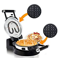 "Create Deep-pocket Belgian waffles with this 360 degree rotating waffle maker 360 Degree rotating waffle maker allows for evenly cooked waffles every time Nonstick coating on the removable plates for fast and easy cleanup ""Cool touch"" Handles for saf..."