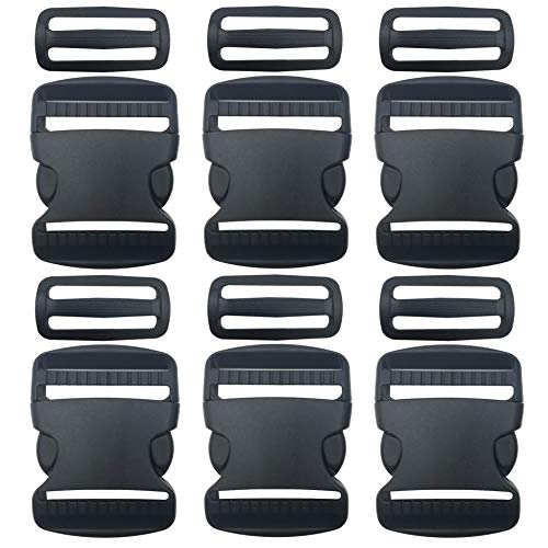"""EesTeck 6 Set 2 Inch Flat Dual Adjustable Plastic Quick Side Release Plastic Buckles and Tri-Glide Slides for Luggage Straps Pet Collar Backpack Repairing (Black, Fit for 2""""/50mm Webbing Straps)"""