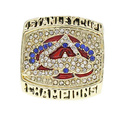YMQUU Handgefertigter Ringlegierungs-Druckguss-Ring, 2001 Chicago Ice Hockey Blackhawks-Meisterschaft-Replik-Ring mit Deluxe-Walnuss-Holzkiste-Geschenke