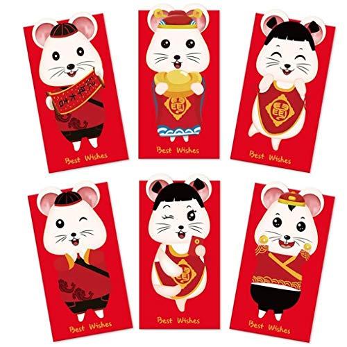 6Pcs / Set Red Cartoon-Muster Glücksgeld Umschlag for das neue Jahr Cartoon Ratte (Color : Cartoon Rat)