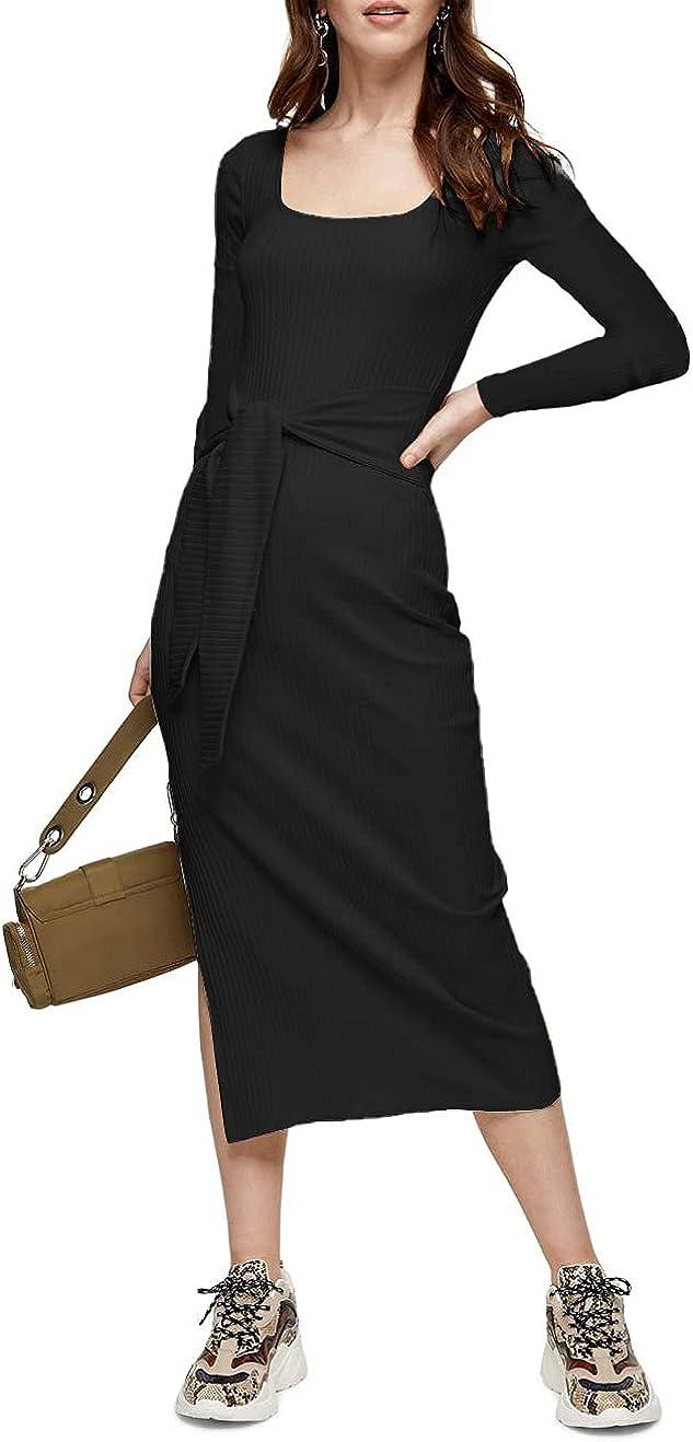 PRETTYGARDEN Women's Long Sleeve Square Neck Slit Bodycon Sweater Dress Tie Waist Ribbed Slim Fit Knit Midi Dress