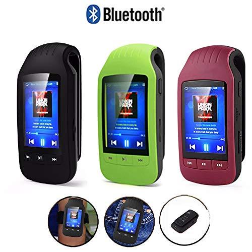 OLPvh MP3-speler Bluetooth draagbare sport stappenteller clip speler FM kaart Micro SD 1.8 Display stopwatch, 40GB, Rood