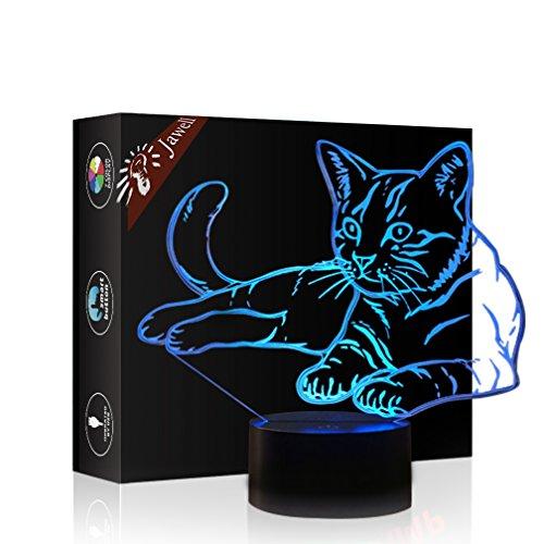 Weihnachtsgeschenk Haustier Katze Spielzeug 3D Illusion Lampe Nachtlicht Neben Tischlampe, Jawell 16 Farben Auto Ändern Touch Schalter Schreibtisch Dekoration Lampen Geburtstagsgeschenk