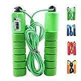 FINGER TEN Salto electrónico de conteo de Cuerdas Fitness Sport, Saltar la Cuerda Fitness Ejercicio Velocidad rápida conteo automático (Verde)