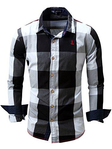 Neleus Men's Long Sleeve Button Down Plaid Shirts,112,Black,S,Tag M