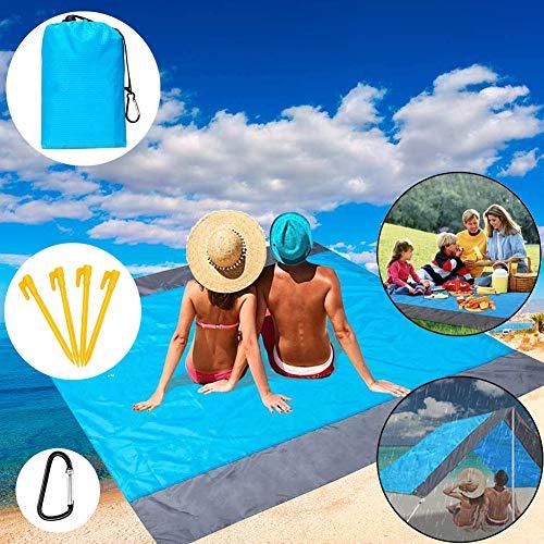 Alfombras de Playa, Toalla Playa Gigante 200 x 210cm,con 4 Estaca Fijo, Portátil y Ligero Manta Picnic Anti-Arena Impermeable para la Playa,Picnic y Otra Actividad al Aire Libre (Azul + Gris)
