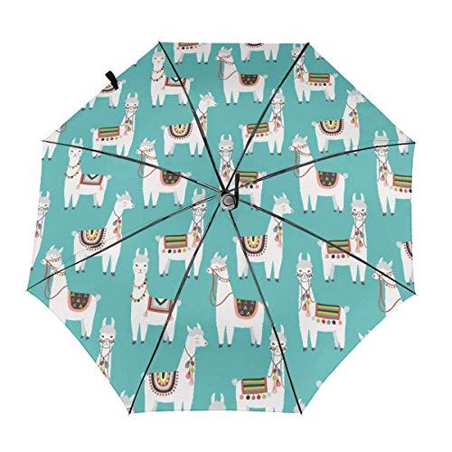 Falten Auto Öffnen Schließen Anti-UV-Regenschirm Peruanisches Lama Mexikanisches Alpaka Ethnische Decke Regen Outdoor Unbreakable Travel Umbrellas