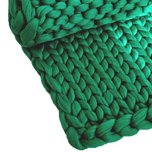 ZCXBHD - Manta de punto para sofá o cama, diseño de trenzado, ideal para decoración del hogar, regalo (color: verde, tamaño: 100 x 120 cm)