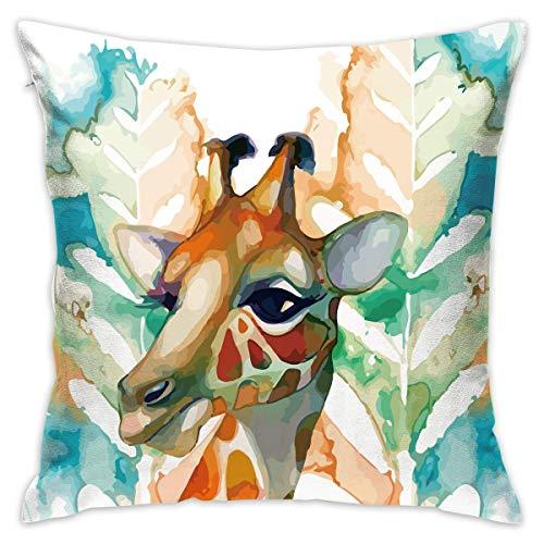 Moily Fayshow Fodera per Cuscino di tiro Giraffa Pittura Divano Letto Federa Cuscino per Dormire Cuscino Morbido 40 X 40