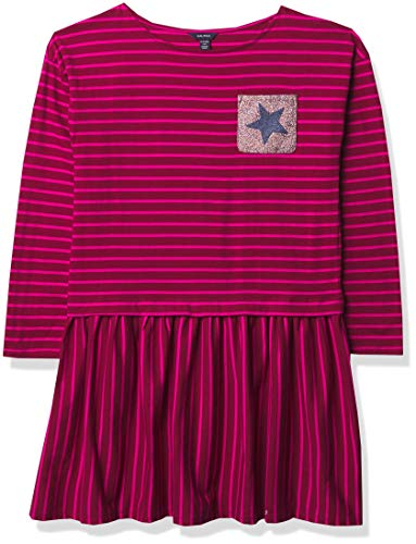Nautica Girls' Long Sleeve Stripe Dress, F20 Dark Cherry Glitter, 6X