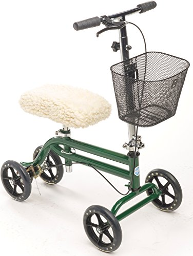 KneeRover Steerable Knee Scooter Knee Walker Crutches Alternative in Green - Includes Removable Basket and Sheepette Knee Pad Cover