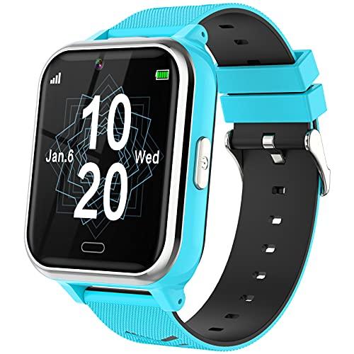 Smartwatch Bambini, Telefono Smartwatch con Batteria di Maggiore Capacità per Ragazzi e Ragazze con Fotocamera, Giochi, Lettore Musicale, SOS, Torcia Elettrica, Orologio Touchscreen 4 ai 12 Anni-Blu