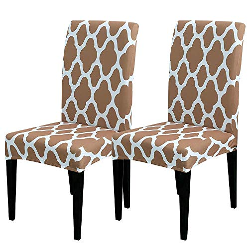 Hfduo Slipcovers for Chairs, Removable Washable Dining Chair Slipcover,Soft Stretch Seat Covers for Dining Room Chairs for Kids Pets Home Ceremony Banquet Wedding Party(2 Pieces)