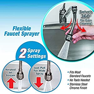 Shuohu Faucet Extension Tubes, Flexible 360 Degrees Stainless Steel Faucet Sprayer Extension Device
