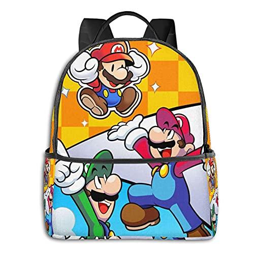 Super Smash Bros Mario Mochila Anime Moda Lindo Niño Niña Escuela Bolsa Gran Capacidad Adecuado para Estudiantes y Trabajadores de Oficina