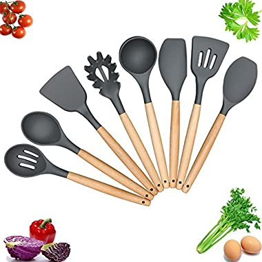 YIMY Silicone Kitchen Utensils 8-Piece Cooking Utensil Set - Silicone Kitchen Gadgets Tool Nonstick Cookware with Natural Wood Handle, FDA ,Gray