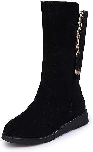 Hhor Bottes pour Femmes Chaussures pour Femmes Bottes pour Femmes Boucle de Femme Faux Warm Knight Bottes Plates Martin Bottes élégant Talon compensé zippé (Couleuré   Noir, Taille   43 EU)