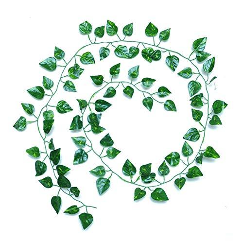 DDDCM Artificial Ivy Green Leaf Guirnalda Plantas Vine Fallo Follaje Flores Decoración Inicio Plástico Flor Artificial Rattan String (Color : Verde)