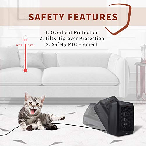 Brightown Portable Space Heater Indoor, 1500W/750W Electric Ceramic Heater with Thermostat, Heat Up 200 sq. Ft in Minutes, Safe & Quiet for Office Home Room Floor Under Desk Desktop, Black