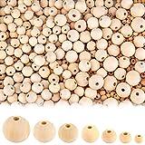 AIEX 1000 Piezas Cuentas de Madera - Bolas Madera para Manualidades DIY, Guirnalda de Pulsera, Hecha a Mano - 7 tamaños (6mm/8mm/10mm/12 mm/14mm/16mm/20mm)