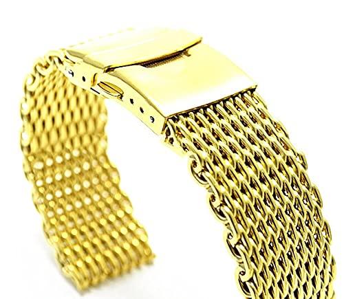 ZXF Correa Reloj, Acero Inoxidable 18 mm 20 mm 22 mm 24 mm Reloj de Relojes Relojes de Hombres Correas de Metal Pulsera Reloj Reloj Reloj de Reloj (Band Color : Gold, Band Width : 18mm)