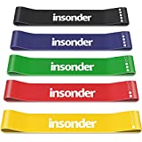 Insonder Resistance Bands Set - Skin Friendly Loop Bands with Workout Guide - Great for Exercise of Glutes Legs Thigh Fitness (5X Resistance Bands [All Resistance Levels], Original Color Set.)